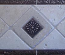 4 inch tumbled travertine W/ sunburst inset