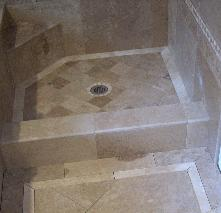 travertine shower floor