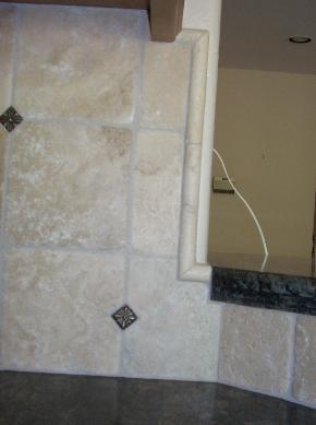 6 inch tumbled travertine w/ 1 inch accent dot