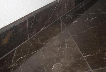 marble floor with bullnosed base