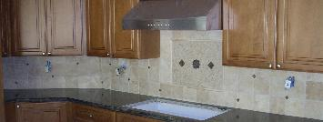 tumbled travertine kitchen backsplash