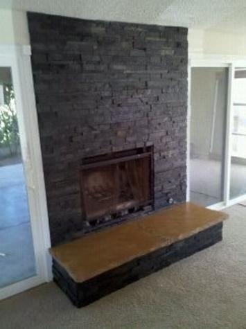 quartzsite, sandstone and glass tile fireplace