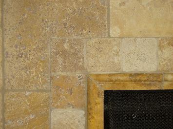 Gold travertine fireplace