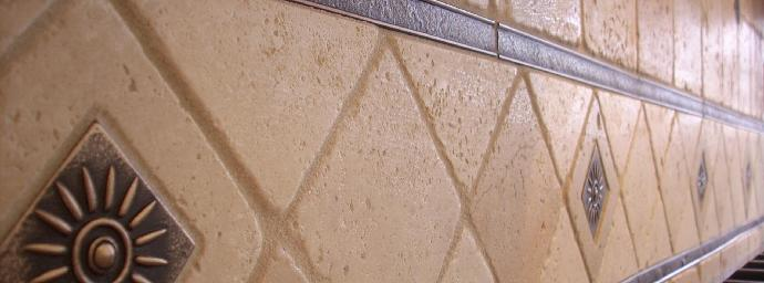 Kitchen backsplash W/ 4 inch tumbled travertine