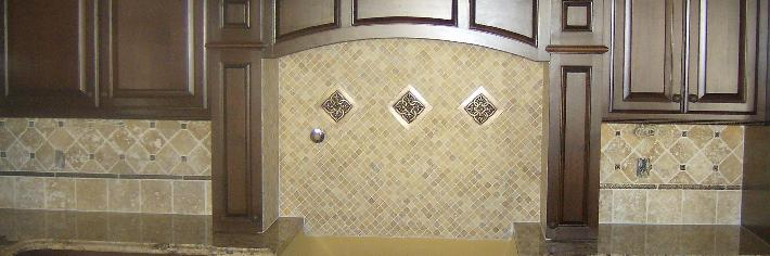 Natural stone splash W/ metal accents
